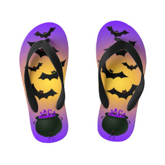 Purple Caldron and Bats Kid's Flip Flops