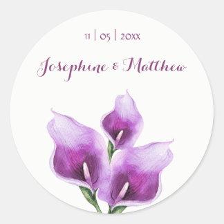 Purple Calla Lillies Watercolor Wedding Stickers