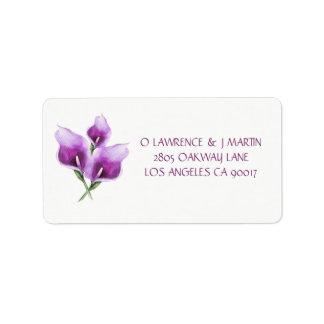 Purple Calla Lily Floral Watercolor Label