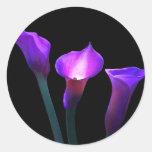 purple calla lily round sticker