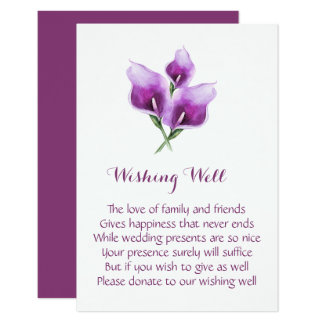 Purple Calla Lily Wedding Wishing Well Cards