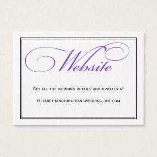 Purple Calligraphy Wedding Website Information Business Card