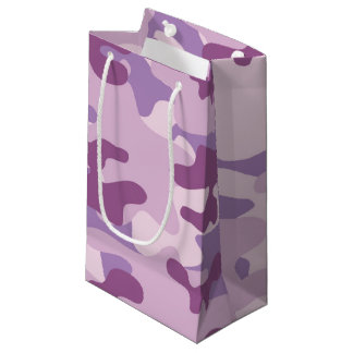 Purple Camo Design Small Gift Bag