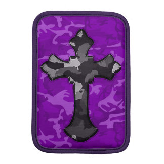 Purple Camo with Cross iPad Mini Sleeves