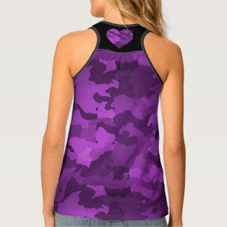 Purple Camo with Heart Tank Top