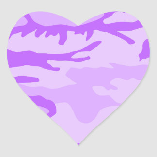 Purple Camouflage Pattern Heart Sticker