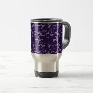 Purple Camouflage Travel Coffee Mug