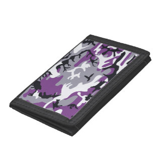 Purple Camouflage Trifold Wallets