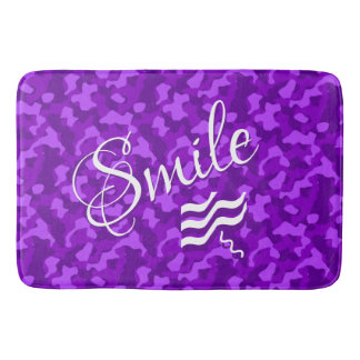 Purple  Camouflage with Smile Text Bath Mat