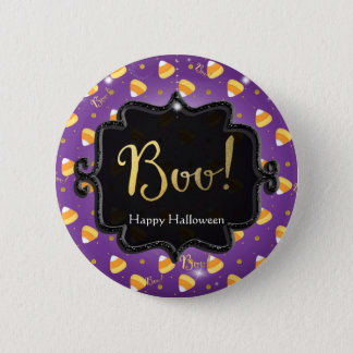 Purple Candy Corn & Gold Dots Whimsical Halloween 2 Inch Round Button