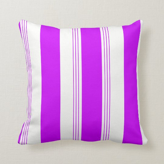 Purple Candy Striped & Solid Reversible  Pillow