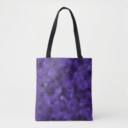 Purple Cannabis Leaf Pattern Tote Bag
