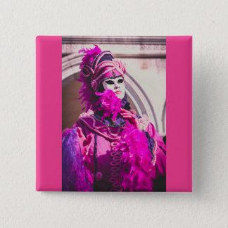 Purple carnival mask in Venice 2 Inch Square Button