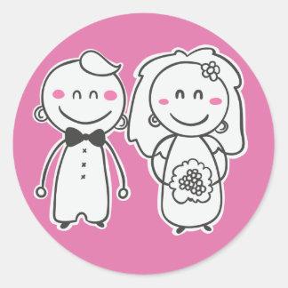 Purple Cartoon Bride & Groom Wedding Sticker/Seal Round Sticker