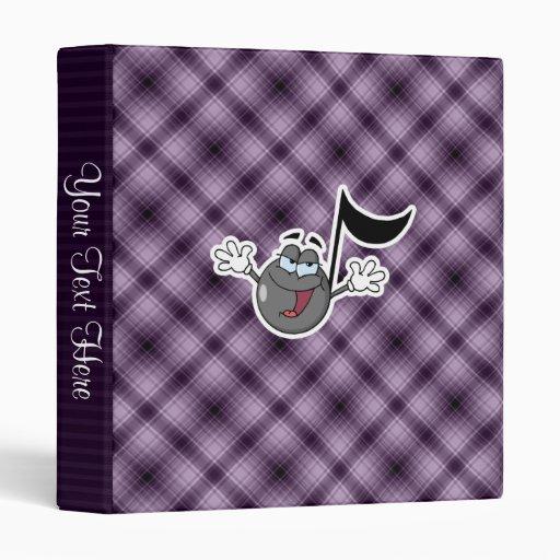 Purple Cartoon Music Note Vinyl Binder