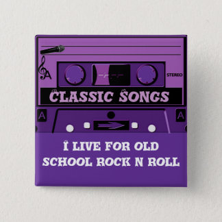 Purple Cassette Groove_ 2 Inch Square Button