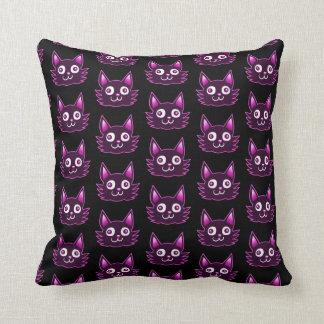 purple cat cartoon style vector illustration throw pillow