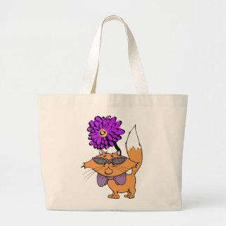 Purple Cat Dude Large Tote Bag