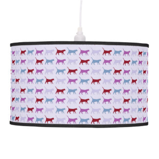 Purple Cat Pattern Pendant Lamp