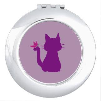 Purple Cat Silhouette Pink Butterfly Makeup Mirror