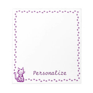 Purple Cat with Paw Border Notepad