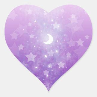 Purple Celestial Fantasy Art Stars and Moon Heart Sticker