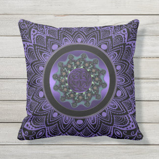 Purple Celtic Fractal Mandala Outdoor Pillow