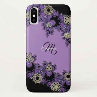 Purple Celtic Fractal Monogram iPhone X Case