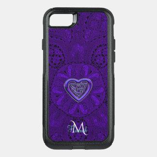 Purple  Celtic Heart Mandala Monogram OtterBox Commuter iPhone 8/7 Case