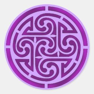 Purple Celtic Knot Design Classic Round Sticker