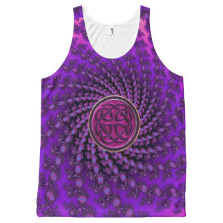 Purple Celtic Knot Spiral Fractal Mandala Tank Top