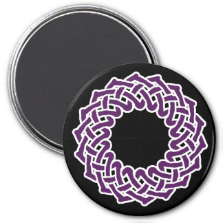 Purple celtic knotwork basket 3 inch round magnet
