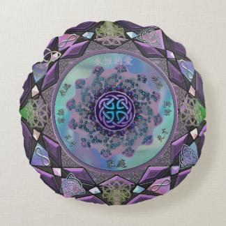 Purple Celtic Mystical Mandala Round Throw Pillow