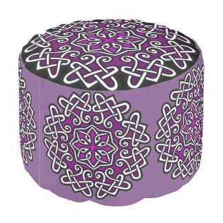 Purple Celtic Ottoman Pouf