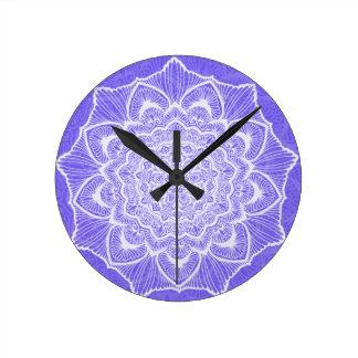 Purple Chakra Blossom, boho, new age, spiritual Round Clock