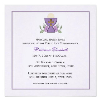 Purple Chalice First Communion Card