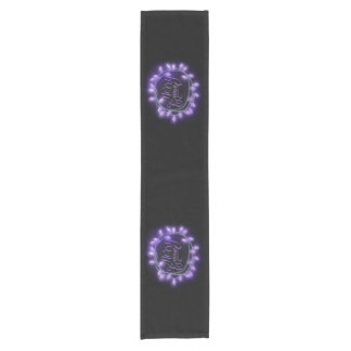 Purple Chalk Drawn Merry and Bright Holiday Short Table Runner