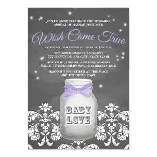 Purple Chalkboard Firefly Mason Jar Baby Shower Card