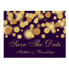 Purple Champagne Bubbles Save The Date Post Card