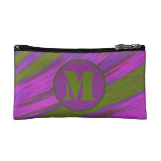 Purple chartreuse green Color Swish Monogram Makeup Bag