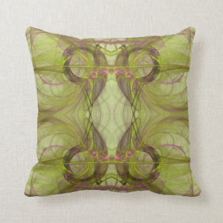 Purple, Chartreuse n Gray Abstract Fractal Pillow