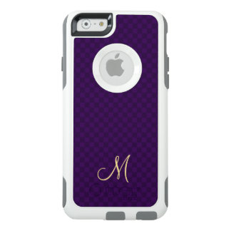 Purple Check Pattern Monogram OtterBox iPhone Case