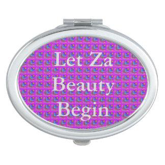 Purple Checkered Beauty Travel Mirror