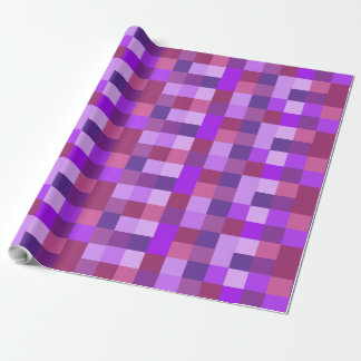 Purple Checkered Colors Patterned Gift Wrap