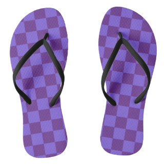 Purple Checkered Flip Flops