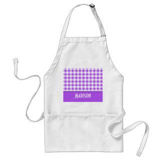Purple Checkered Gingham; Cute Standard Apron