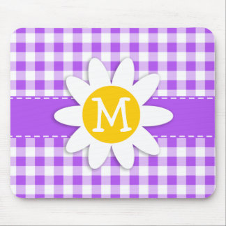 Purple Checkered Gingham; Daisy Mousepads