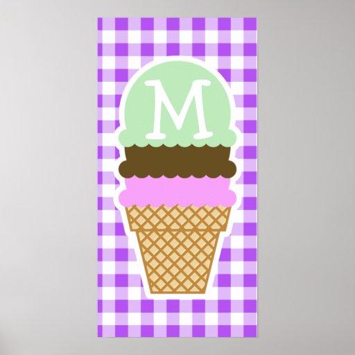 Purple Checkered Gingham; Ice Cream Cone Posters