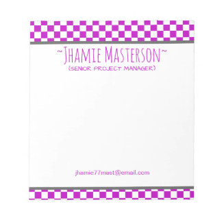 Purple Checkered Notepads