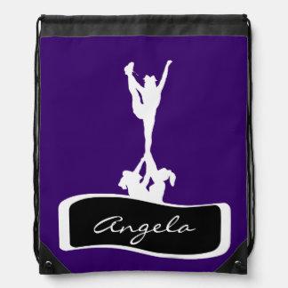 Purple cheerleader drawstring backpack